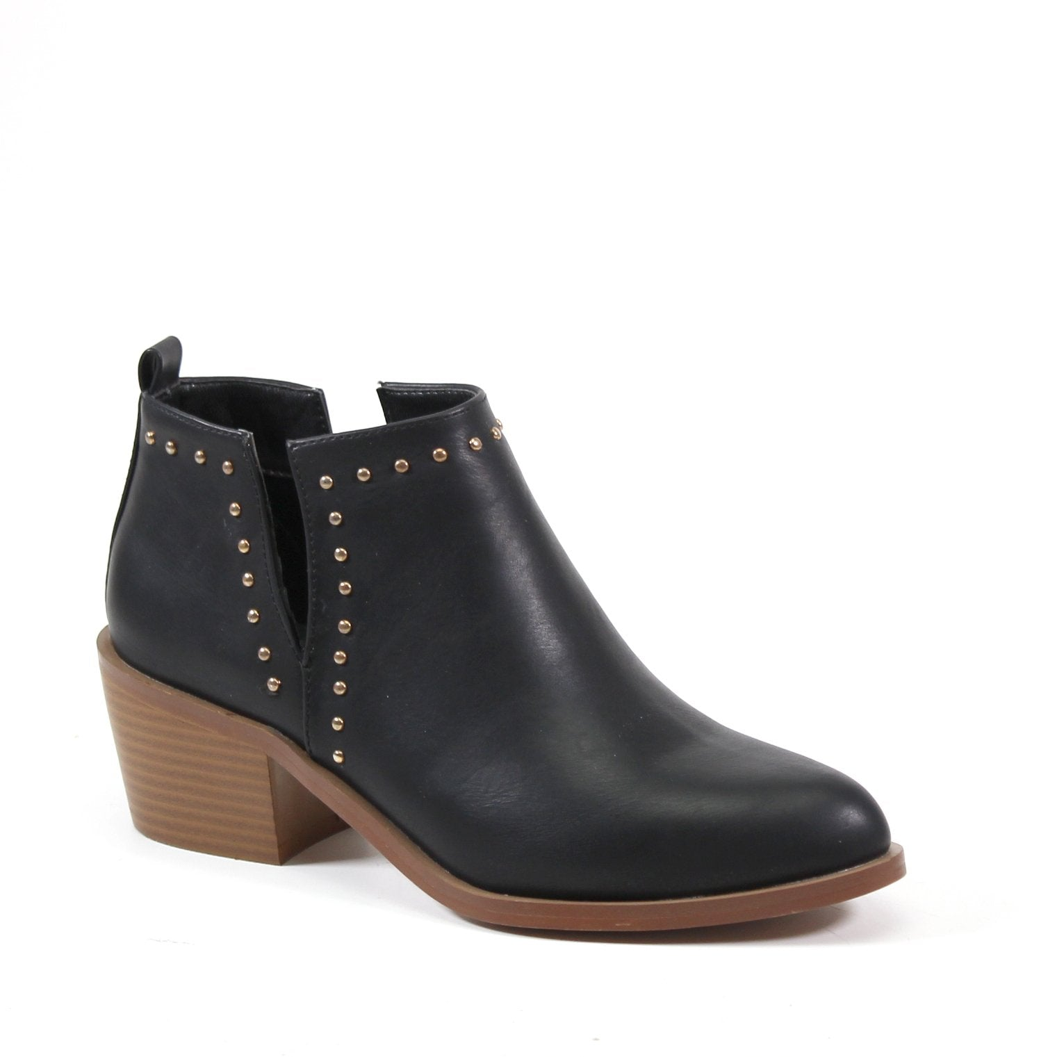 A studded dual V-Cut bootie with a vegan leather upper and contrasting faux stacked heel. The studded detail follows the V-CUT design and extends along the topline. A pull-on entry complete with a  rear pull tab makes for a cool relaxed style with an almo