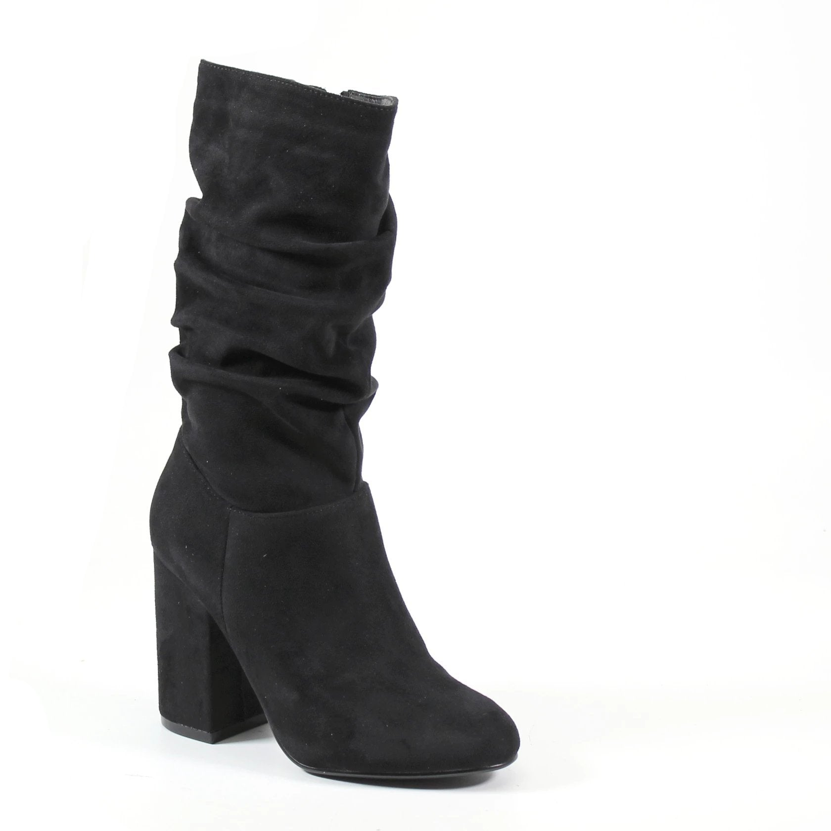 A black imi suede upper covers this scrunch boot that sits below the knee with full inside zip entry. A self-covered block heel lifts this design to new heights, easy to pair your wardrobe essentials this season.