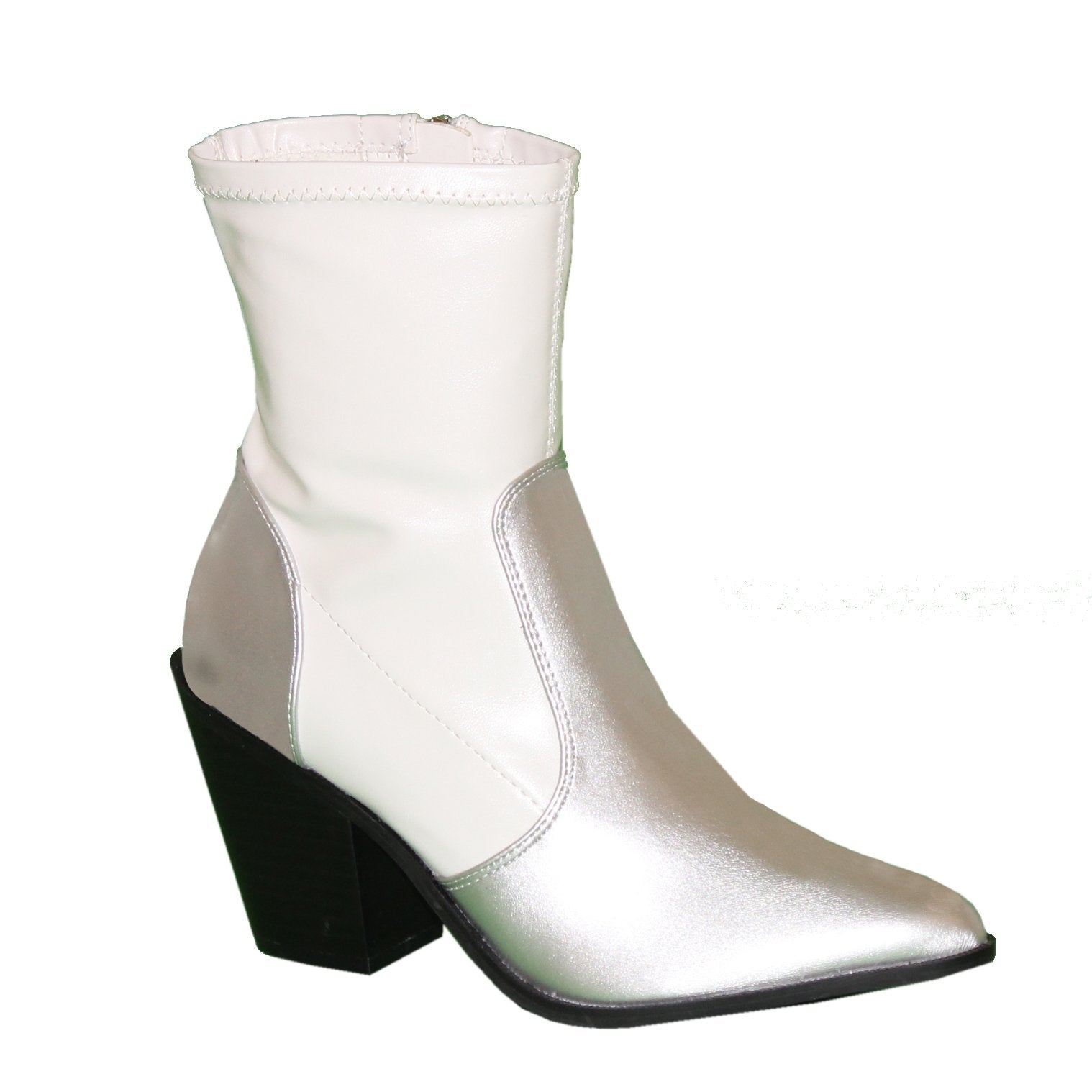 Western-inspired above the ankle boot that features a contrasting vegan leather silver upper that meets the stretch topline in white. An inside zip closure entry lifted by an angled faux stacked block heel.