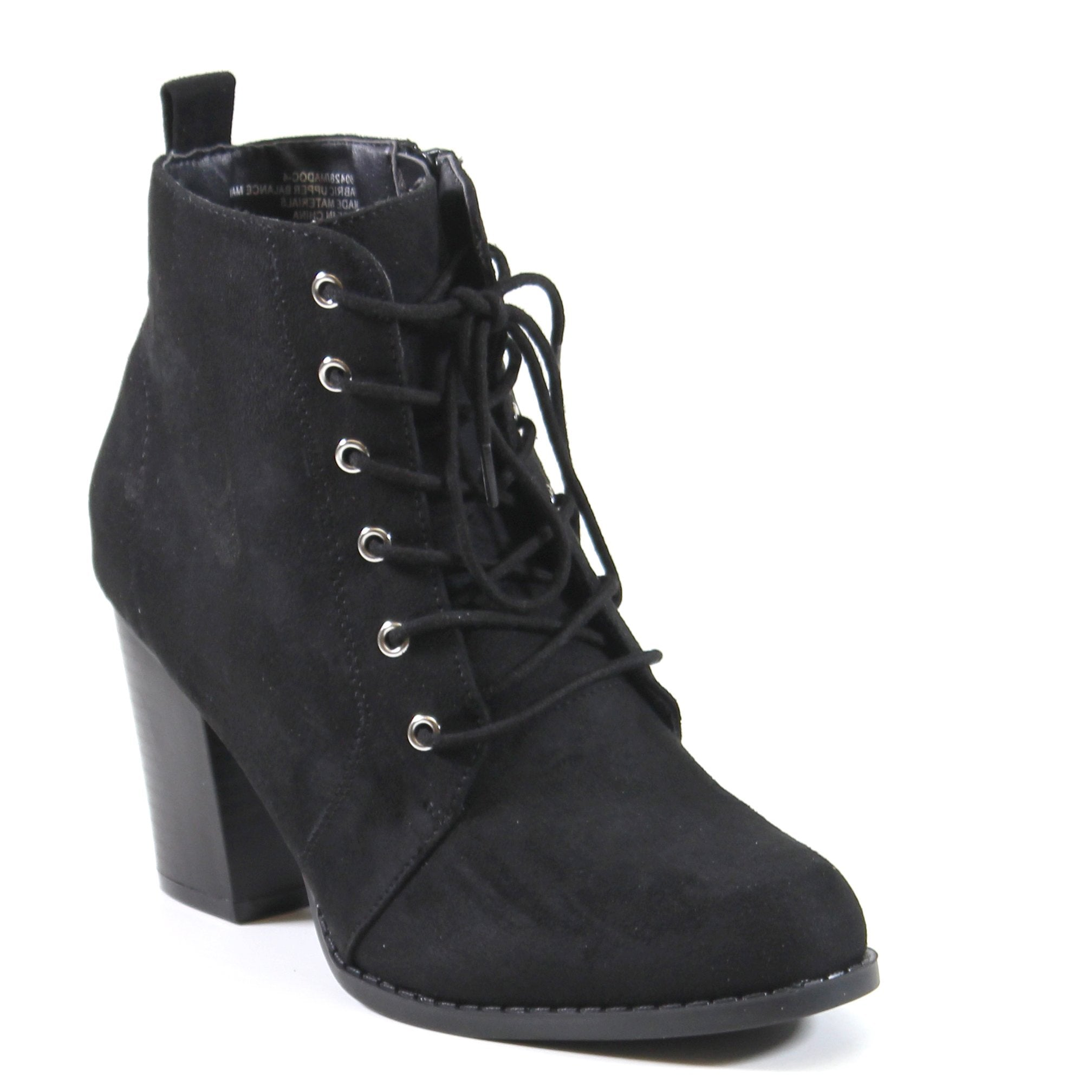 This stylish vegan suede lace up ankle bootie with faux stacked block heel and inside zipper entry. MAIN SHOE by Diba London hopes to become the main shoe in your wardrobe this season.