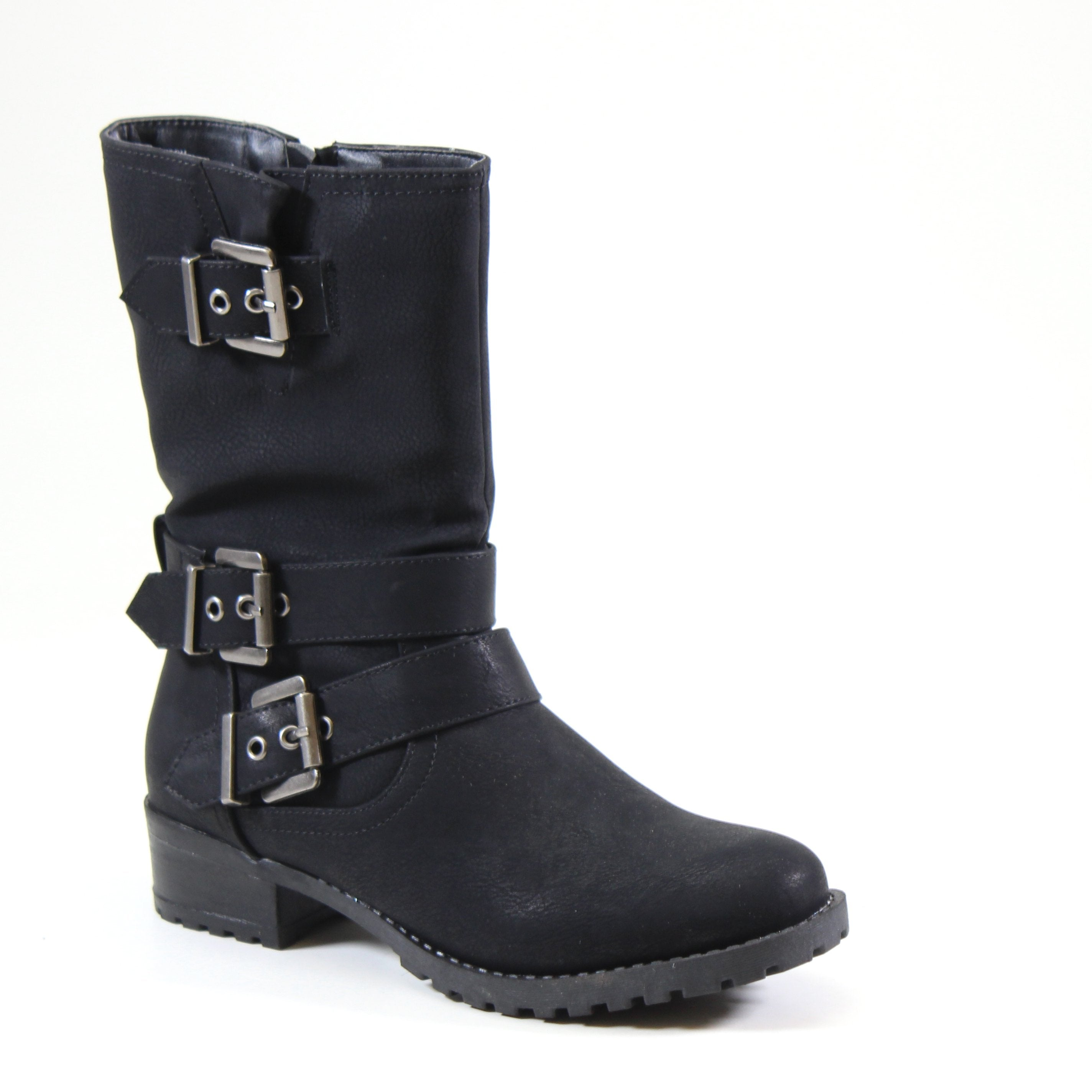 A mid-length vegan leather combat boot with multi- buckle detailing, inside zipper entry and lug sole wood scrapped heel.