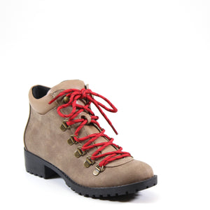 Lace-up hiking boot with contrasting red laces and inside zip for ease of entry. Give your casual looks and outdoor adventures an instant pick me up with this fashionable modest lug sole boot
