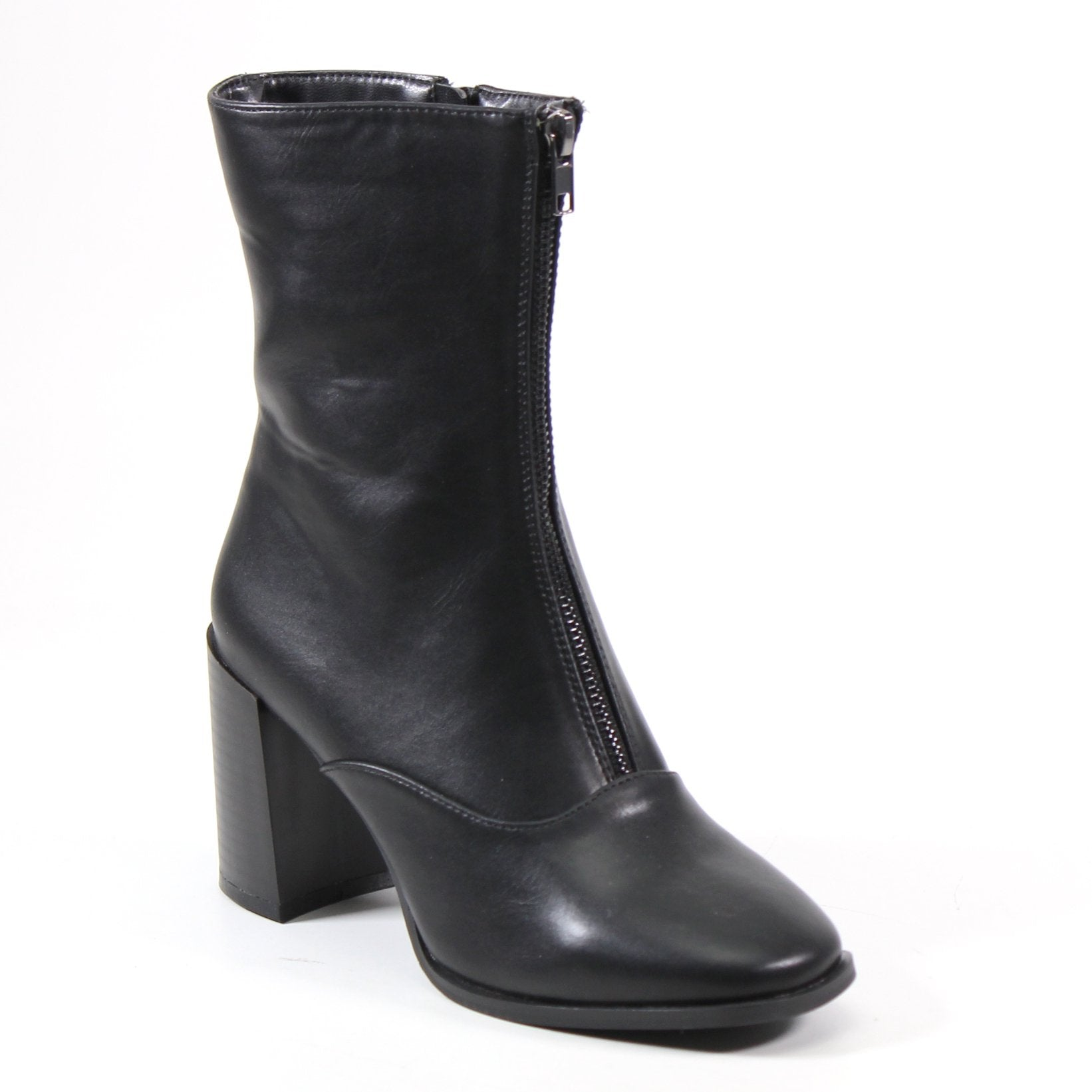 This stylish vegan leather mid-calf bootie features an ornamental stunning frontal zip that demands attention each step of the way. A functional side zip entry and rounded snip toe complement the block heel. Exhibit a classic sleek aesthetic with your new