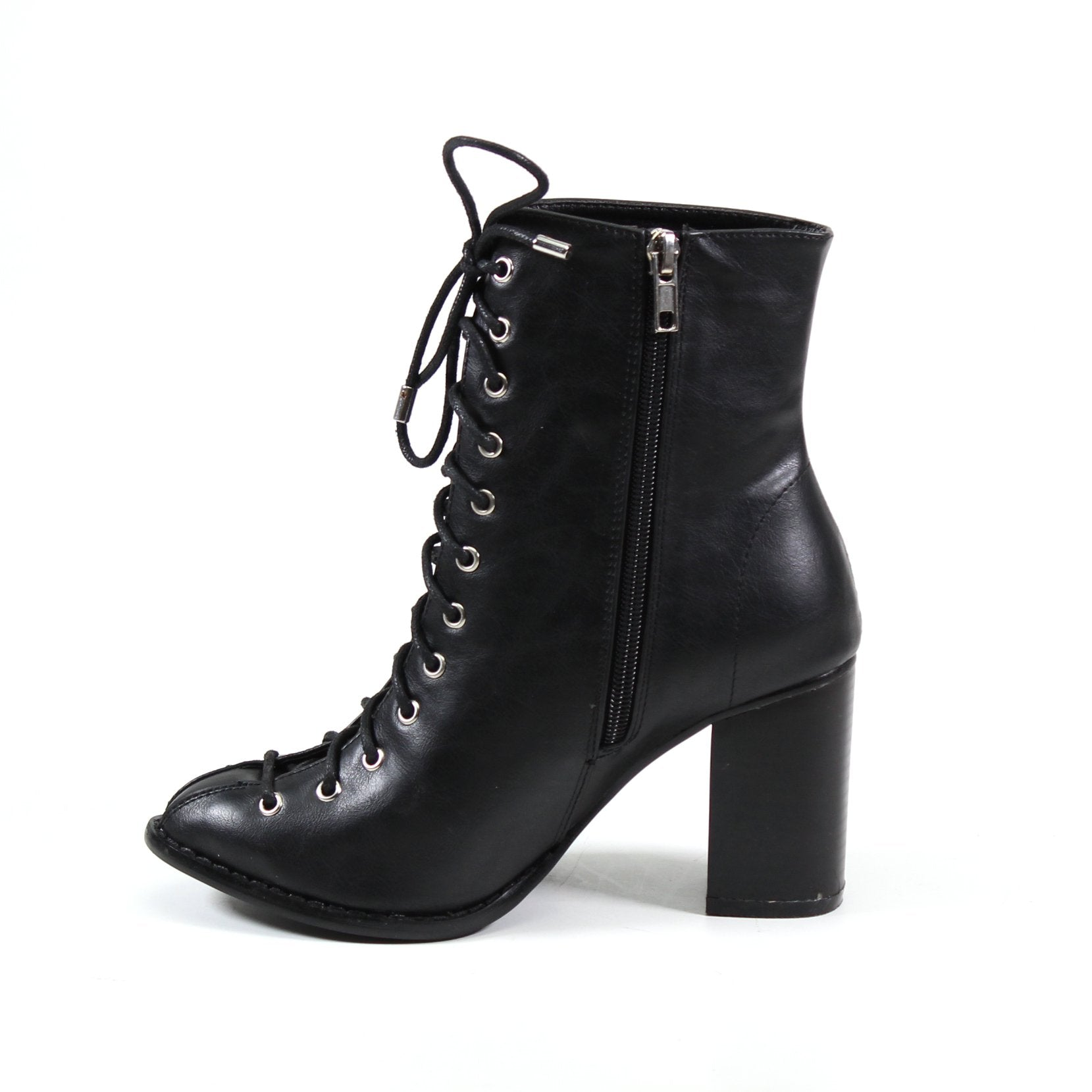 Demand attention when you enter a room in this black vegan leather lace-up imi leather bootie with inside zip and stacked block heel.