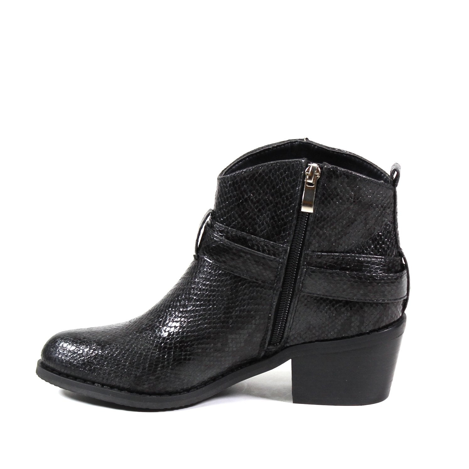 A curved topline and belted shaft compliments the western-style bootie set on a stacked block heel. Refresh the look of a belted bootie shaped with an almond toe, rear pull tab, buckle ornament, and inside zipper.