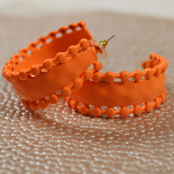 Orange Hoop Earring