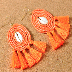 Beaded Shell Fringe Earrings