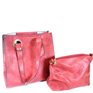2 in 1 Vegan Leather Tote Bag- 4 colors