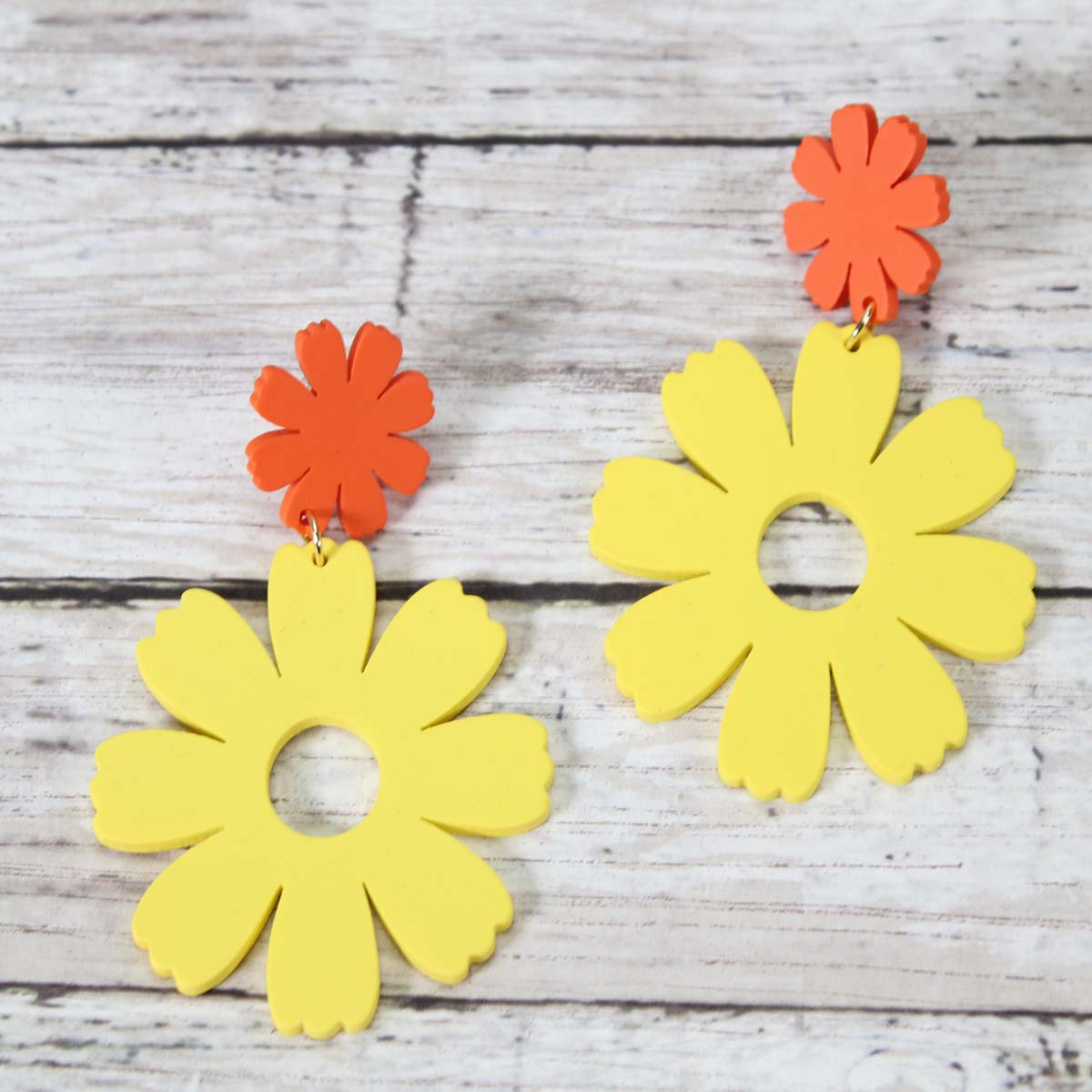 Floral wooden earrings- more colors