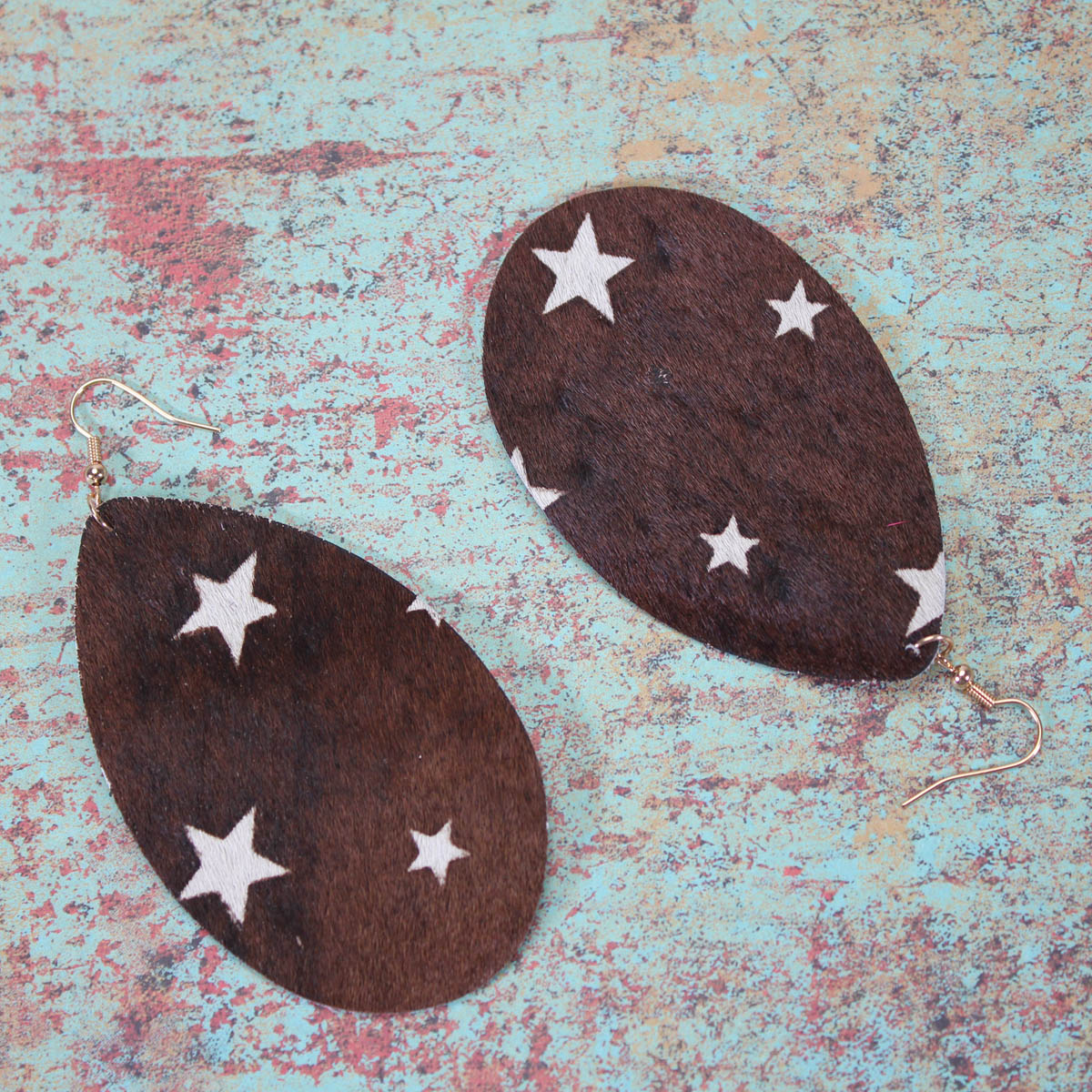 Printed Cowhide Earrings- Multiple Colors