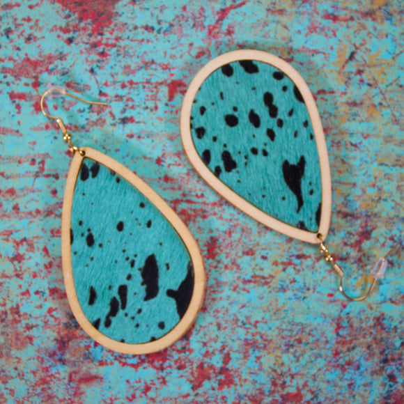 Cowhide and Wooden Earrings