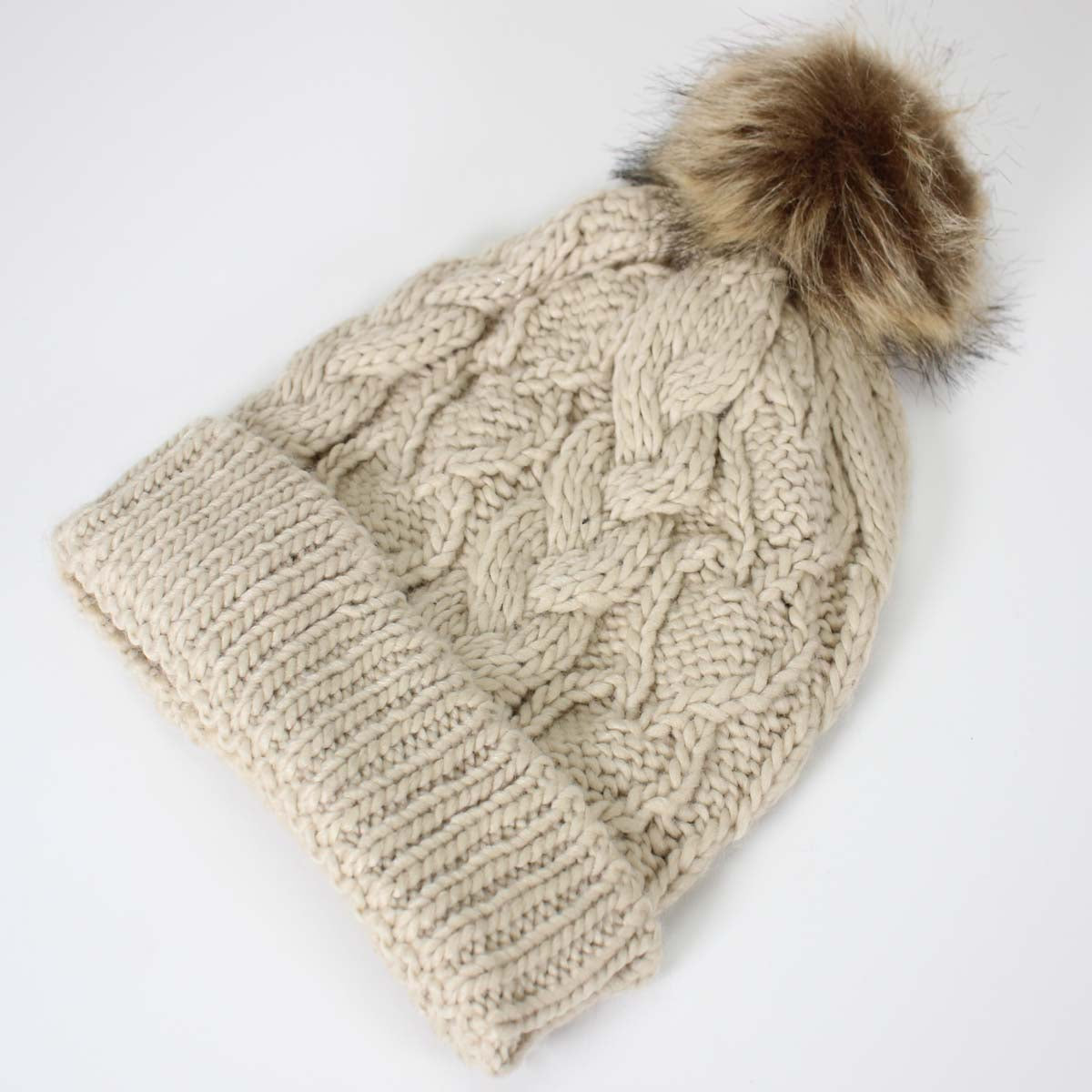 Knit Fur Ball Beanie Hats