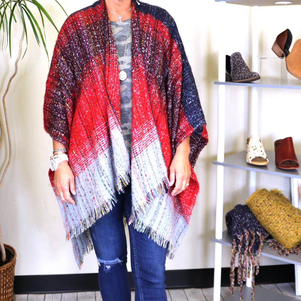 Ombre Poncho- multiple colors