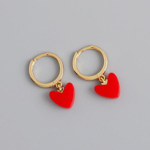 Red Heart Hoop Earrings from Empty Whole
