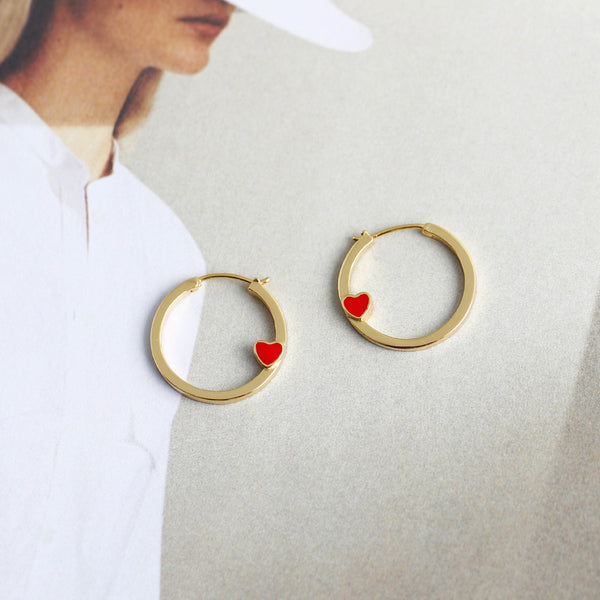 Gold Hoop Earrings with Red Heart from Empty Whole