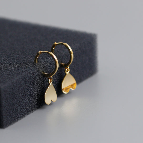 Upside-Down Heart Hoop Earrings from Empty Whole - Gold