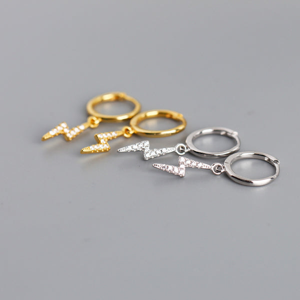 Studded Lightning Bolt Hoop Earrings from Empty Whole