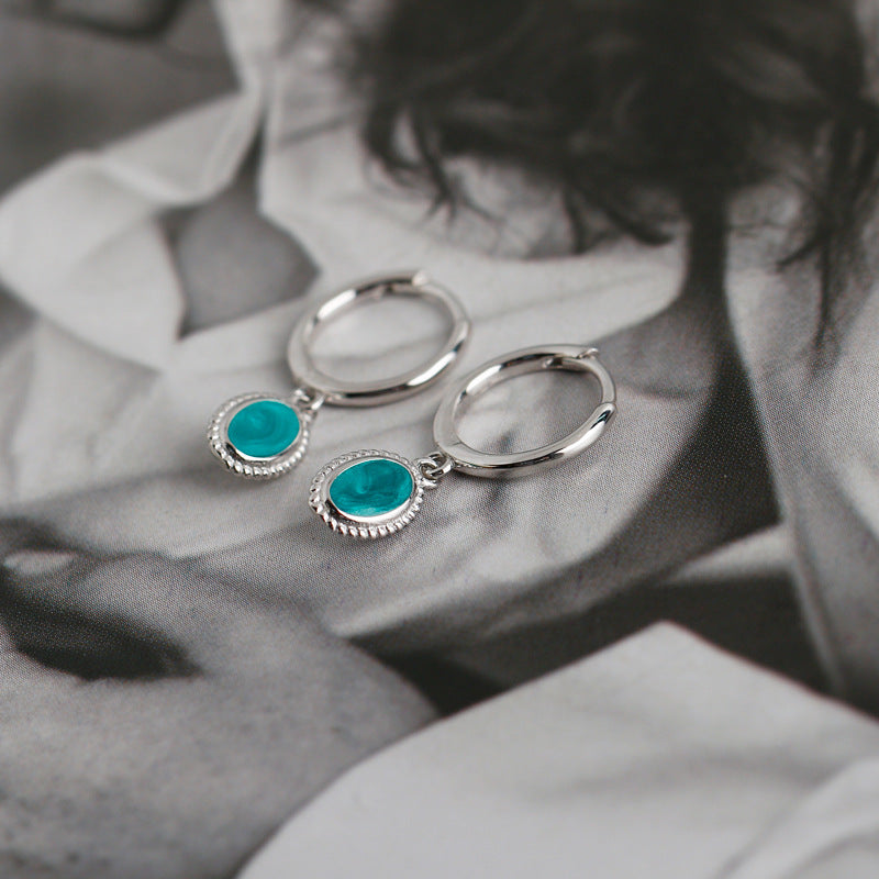 Empty Whole Turquoise Oval Hoop Earrings