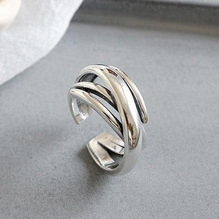 Geometric Bohemian Ring Silver Empty Whole Jewelry