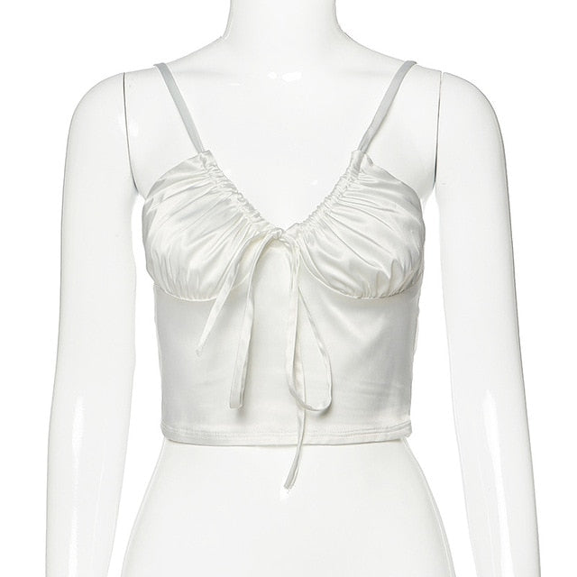 Drawstring Ruched Cami Top White
