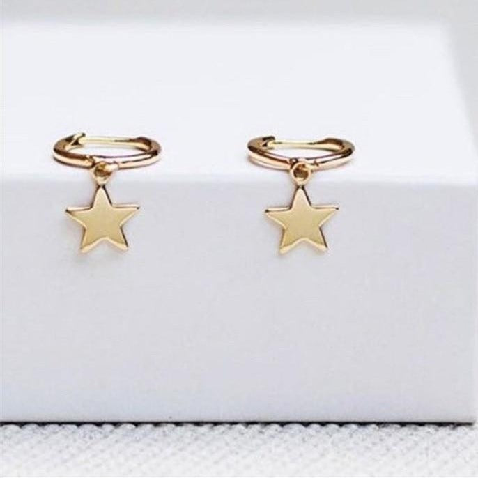 Star Huggie Hoop Earrings Gold Empty Whole Jewelry