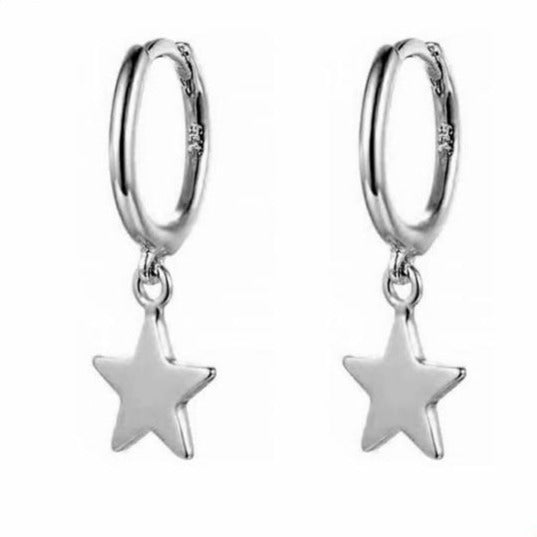 Star Huggie Hoop Earrings Silver Empty Whole Jewelry