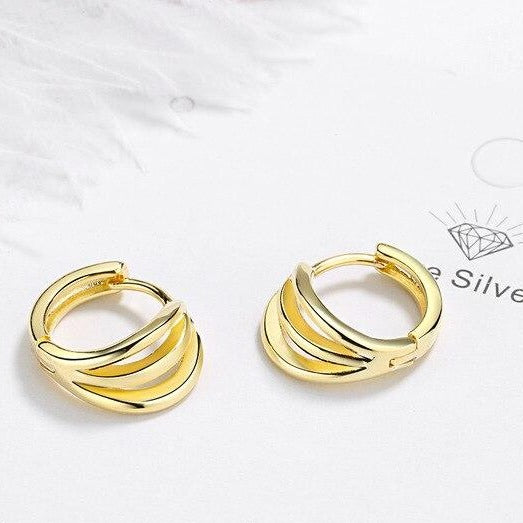 Triple Layer Huggie Earrings Empty Whole Gold