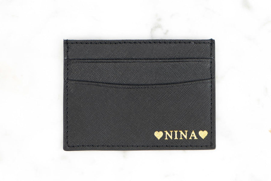 7403cff23590 CARD HOLDERS - BLACK SAFFIANO PERSONALISED LEATHER CARD HOLDER