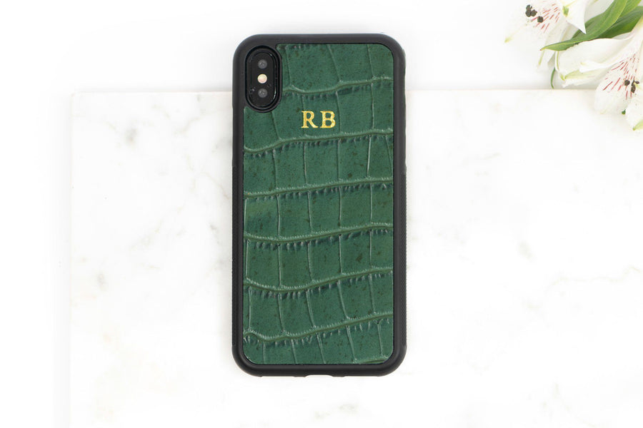 1890337e13 IPHONE X / XS CASES - PERSONALIZED IPHONE X SAFFIANO LEATHER CASE: GREEN  CROC