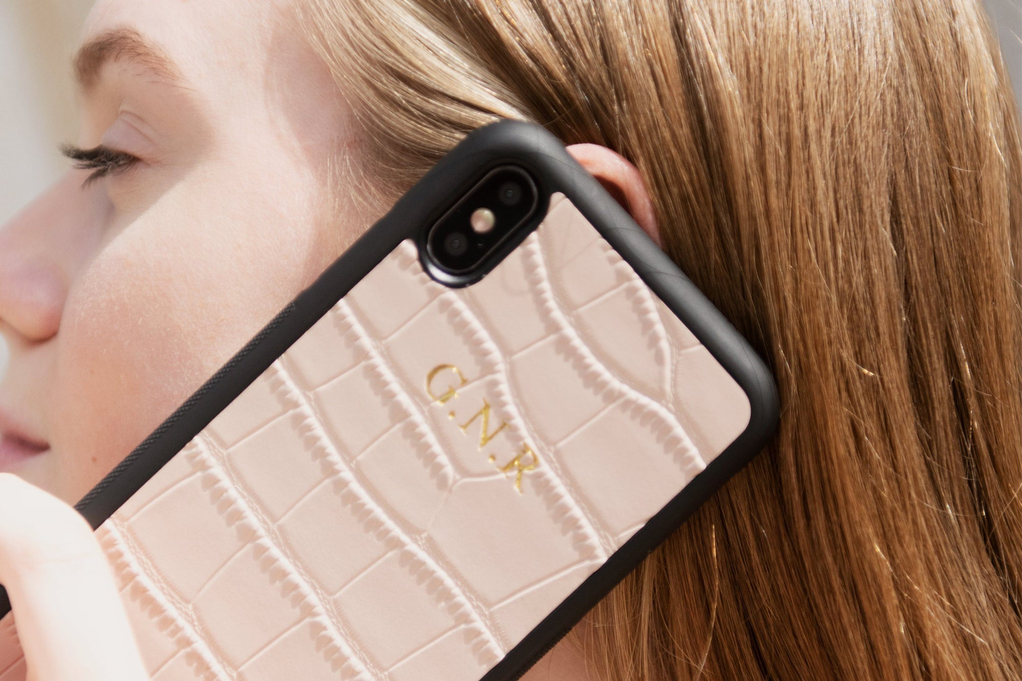 Personalized Iphone Xs Max Leather Case Blush Pink Croc