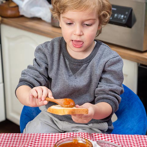 Child making a snack
