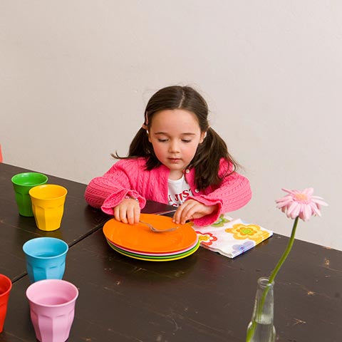Child clearing the table