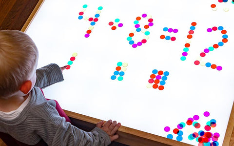 Transparent counting chips on light table