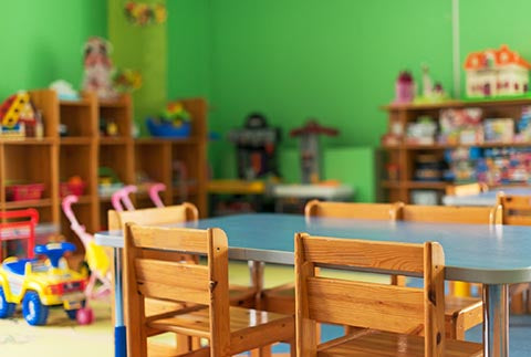 Montessori playroom table and chairs