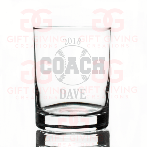 Baseball Coach Whiskey Glass