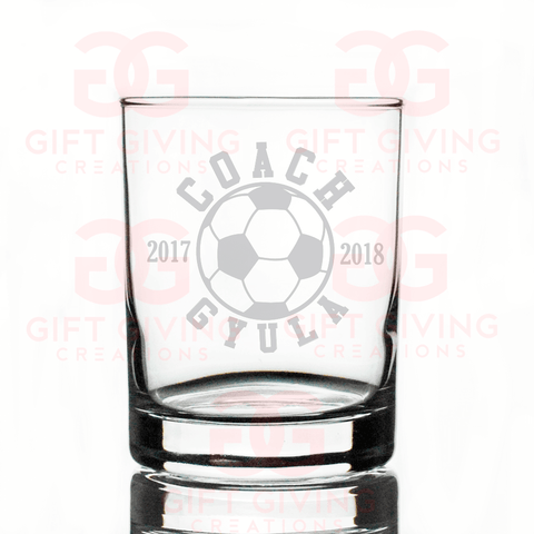 Soccer Coach Rocks Glass