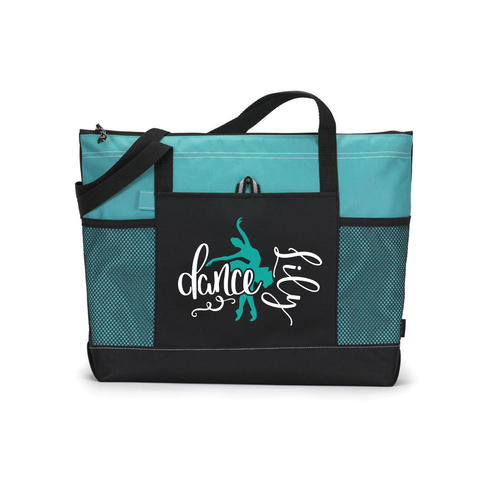 Personalized Dance Bag, Dancer Bag, Custom Tote Bag, Turquoise Tote Bag, Dance Gift, Sports Bag, Personalized Bag, Dance Team Gift, Love Dance, Dance Competition Bag, Custom Tote Bag