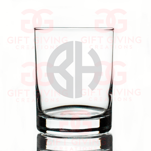 Two Initial Block Monogram Rocks Glass