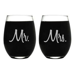 Laser Engraved Wine Glass Etched Mr. & Mrs. Stemless Wine Glass, Gift for Couples, Bride and Groom Glass, Red Wine Glass,