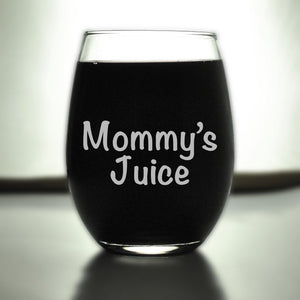 Engraved Wine Glasses, Mommy's Juice, SHIPS FAST, Etched Wine Glass, Birthday, Funny Glasses, Moms Glass,Gift for Mom,