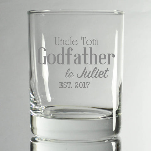 Engraved Godparent Glasses * Scotch Glasses * Godfather Glass * Engraved Gasses * Gift for godparents * Engraved Whiskey Glasses * Bourbon