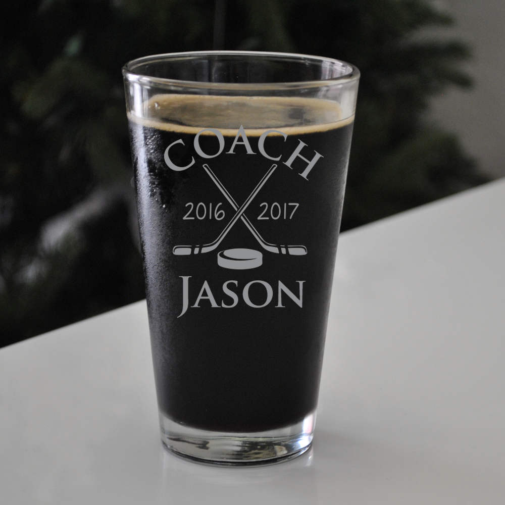 Custom Engraved Hockey Beer Pint, SHIPS FAST, Hockey Etched Pint Glass, Beer Glass, Coach Glasses,
