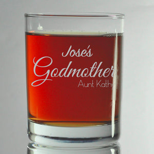 Godparent Engrave Glasses, SHIPS FAST, Etched Rocks Glasses, BourbonGlass,Gift for Godparents, GodFather Glass,