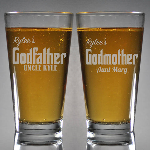 Set of 2 Custom Engraved Godparents Pint Glasses * Godfather Pint Glasses * Beer Pint Glass * Godmother Glasses * Baptism Gift *