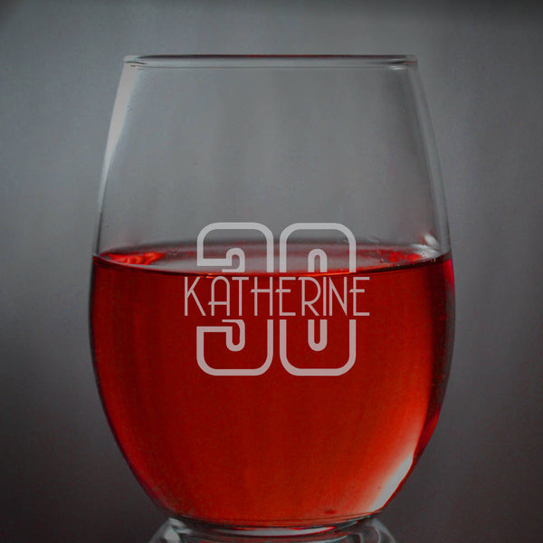 Custom Engraved Birthday Wine Glasses * Etched Wine Glass, 30th Birthday Gift * 40th Birthday Glass * Personalized Glass * Birthday Gift