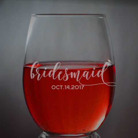 Custom Engraved Wine Glasses * Etched Wine Glass, Wedding Gift * Bridesmaid Glass * Personalized Glass * Brides
