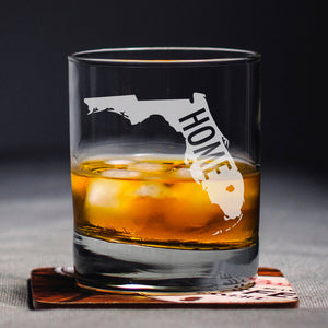 Custom State Glass, Home State Gift, State Lover, Monogrammed State, State Bourbon Glass, Florida Whiskey Glass, Personal Rocks Glass,