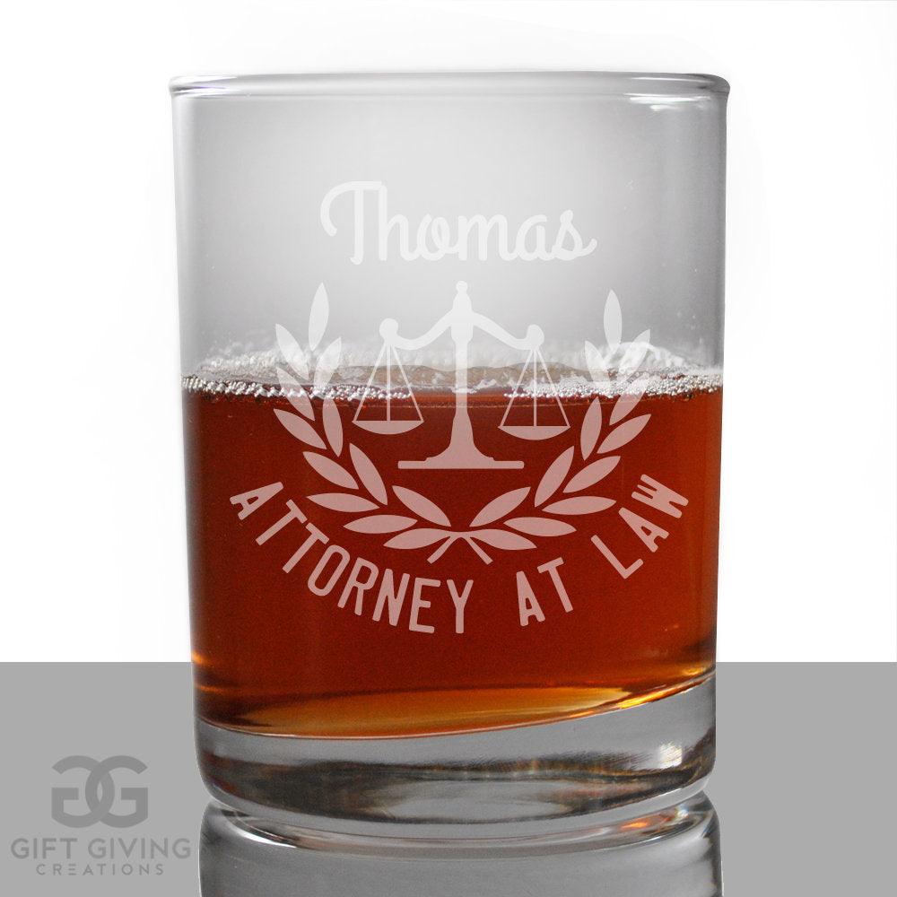 Personalized Lawyer Gift Engraved Glass, SHIPS FAST, Etched Rocks Glasses, Bourbon Whiskey Scotch Glasses, Law School, Attorney Gift