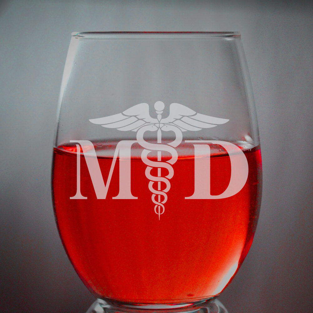 Custom MD Medical Doctor Engraved Wine Glass Birthday Gift Best