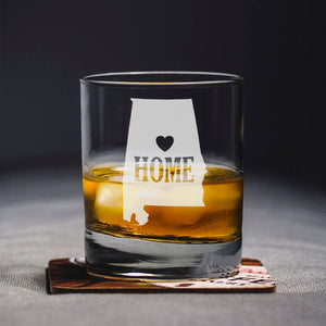 Alabama Home Glass, Engraved State, Personalized State, Whiskey Glass, Rocks Glass, Alabama Gift, State Whiskey Glass, Home State Glass